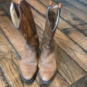 Brown leather cowboy boots